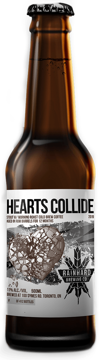 Image of Rum barrel-aged Hearts Collide w/ cold brew coffee from Morning Roast bottle