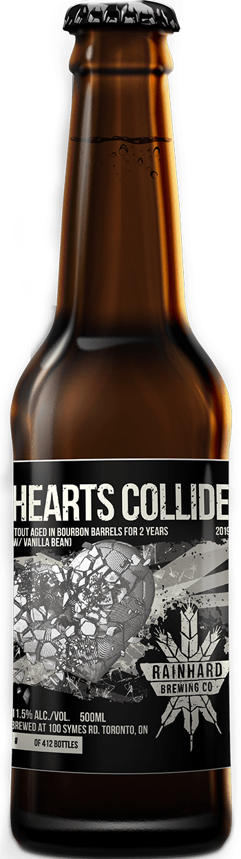 Image of Bourbon barrel-aged Hearts Collide with vanilla bean bottle